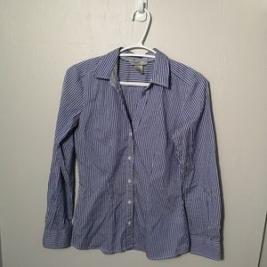 H&M Casual Button-Up Blue Striped Shirt Size 2
